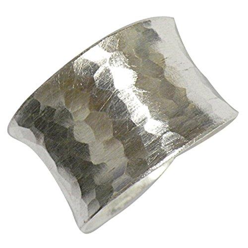 Silberring gehämmert 15mm breit offen verstellbar Ringe 925 Sterling Silber  Damen Herren Silberringe massiv matt glänzend Fingerringe unisex groß ohne Stein Herrenringe Damenringe (59 (18.8))