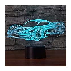 3D Illusion Lampe LED Nachtlicht, EASEHOME Optische 3D-Illusions-Lampen Tischlampe Nachtlichter 7 Farben Berührungsschalter Schreibtischlampe mit 150cm USB-Kabel Kinder Nachtlampe, Rennwagen-2