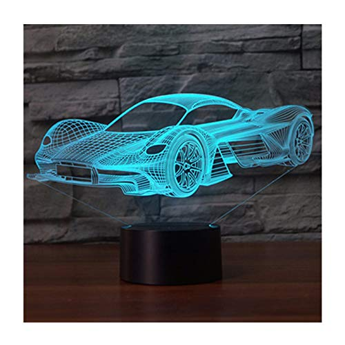 3D LED Illusion Lamp Night Light, EASEHOME Optical Bedside Table Night Lights Illuminating Kids Lamp Sleeping Lighting 7 Colour Changing Touch Button 1.5M USB Cable Decoration Desk Lamps, Racing Car-2
