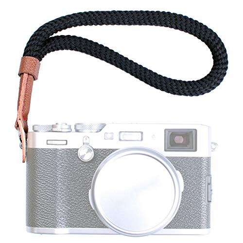 VKO Black Cotton Camera Hand Wrist Strap Compatible with Fujifilm X-T30 X-T4 X-T3 X-T20 X-T2 X70 X-Pro2 X-E3 X30 XQ2 X100F A6100 A6600 A6400 A6000 A6300 A6500 RXIR II Cameras Adjustable Safety Strap