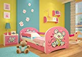 Cama infantil con colchón, barra de seguridad y cajón, incluye mantel individual y hoja (160 x 80 cm), diseño de ratón y queso