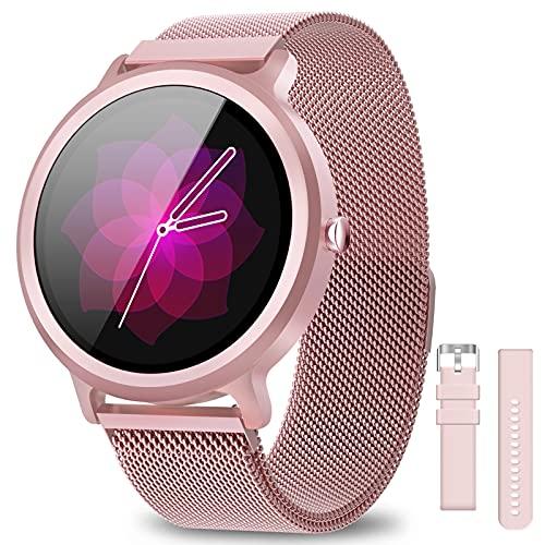 AIMIUVEI Smartwatch Donna 1.28 Pollici, Orologio Fitness Donna IP68 con 24 Modalità Sportive Smart Watch Cardiofrequenzimetro Contapassi Calorie Activity Tracker con 2 Cinturini per Android iOS (Rosa)
