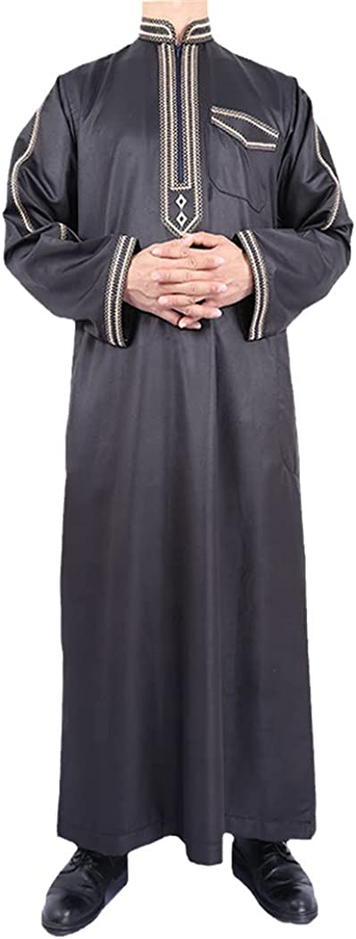 LOIUYBM Saudi Arab Dubai Abaya, Men Embroidery Muslim Jubba Thobe, Men Islam Djellaba Kaftan Robe