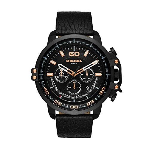 Diesel Deadeye - Reloj análogico de cuarzo con correa de cuero unisex, color negro