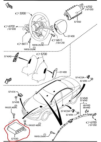Mazda 6 2009-2010 New OEM airbag control module GEA2-57-K30