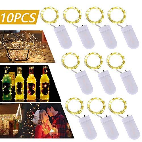 LED Lichterkette, Etmury 10er Stück 1M 100 LED Lichterkette Außenbeleuchtung Batteriebetrieben Kupferdraht Wasserdicht IP67 Beleuchtung Dekoration für Party Weihnacht Halloween und Hochzeit-Warmweiß