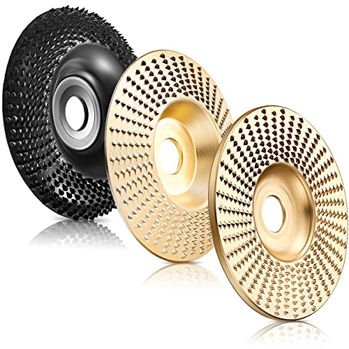 3 Pieces 4 Inch Grinder Wheel Disc Wood Shaping Wheel Wood Grinding Shaping Disc for Angle Grinders with 5/8 Inch Inner Diameter (Gold and Black)