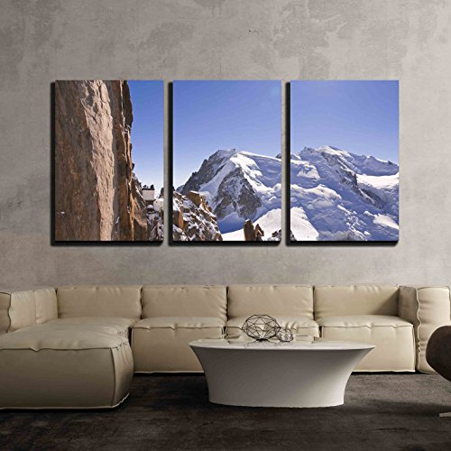 """wall26 - 3 Piece Canvas Wall Art - Massif Mont-Blanc, Aiguille Du Midi. France. 3842 Meters Above Sea Level. - Modern Home Art Stretched and Framed Ready to Hang - 16""""x24""""x3 Panels"""