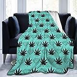 Ahdyr Manta de Microfibra Ultra Suave, Manta de Hojas de Marihuana, Manta cálida, Manta de Lana Suave para sofá, Manta de Cama, 50 x 40 Pulgadas