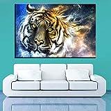 YuanMinglu Cartel de Lienzo decoración del hogar 1 Tigre rugiente Animal Print Moderno Mural Sala Pintura Abstracta Pintura sin Marco 50x75cm