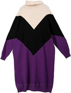 MUZBOO Invierno Nuevo Hit Color de Cuello Alto de la Marca de Moda Personalidad de Gran Tamaño del Suéter de la Falda