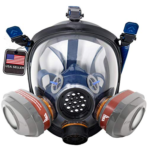 PT-101 Full Face Organic Vapor & Particulate Respirator with Dual P-A-3 Carbon Activated Cartridges