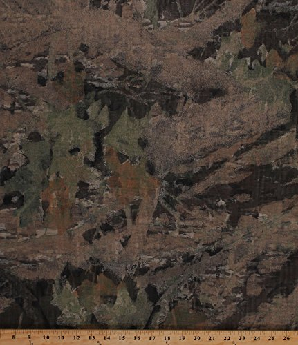 Camo Mosquito Tent Netting Net Woods Forest Leaves Camouflage Brown Mesh Fabric by The Yard (D179.11)