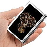 Tarjeta de visita profesional, caja de la cartera de acero inoxidable Titular de la tarjeta de identificación de crédito Golden Elephant