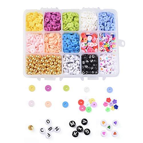 Fashewelry - 1 caja de cuentas de arcilla polimérica redondas y planas con disco y flor, cuentas de Heishi y cuentas de plástico CCB, alfabeto de acrílico y cuentas de corazón para hacer joyas