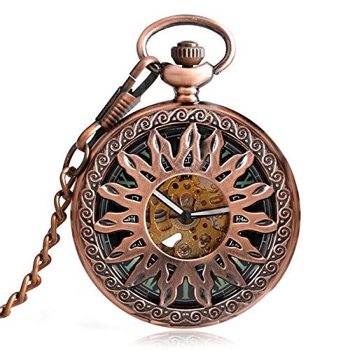 XVCHQIN avec chaîne Supernatual Pocket Watch Vintage Rose Copper Chain Hollow Sun Collier Pendentif mécanique Automatique à remontage Automatique, Or Rose