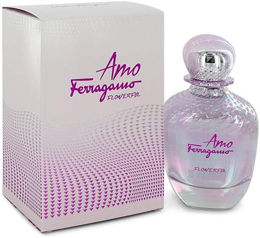 Salvatore ferragamo amo ferragamo flowerful,eau de toilette,profumo  da donna,100 ml 8052086376496