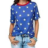 KIMODO Kurzarm Oberteil mit Rundhalsausschnitt Damen Druck Blusen Elegante Tops Übergröße Casual T-Shirt Hemd Langarm Shirt (Blau, L)