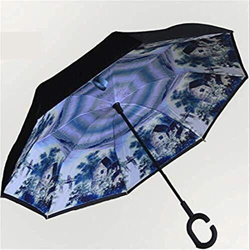 Paraguas invertido Plegable con Mango en Forma de C, Paraguas para Damas portátil Plegable a Prueba de Viento de Doble Capa A