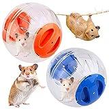 JPYH Bola de Hámster de 12 cm, Bola de Fitness para Correr, Juguete Deportivo para Mascotas Pequeñas, 2 PCS, Azul, Naranja
