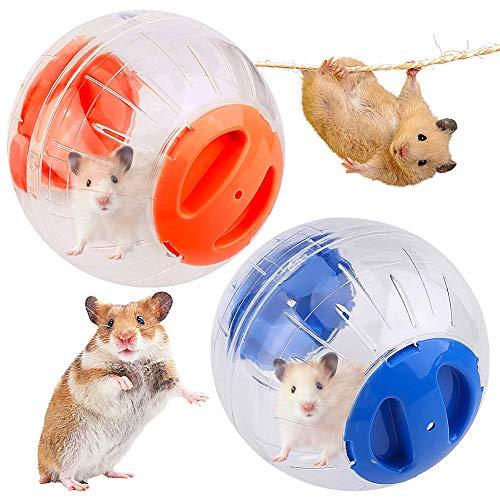 JPYH 2 Pezzi Palla da Corsa per Criceto, Palla Fitness per Criceto, Giocattolo da Corsa per Animali Domestici, Mini Palla da Fitness per Criceto 12 cm, Palla di Plastica Trasparente (Rosa, Arancione)