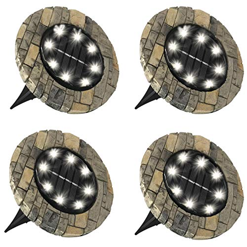 Bell + Howell Disk Lights Slate – Heavy Duty Outdoor Solar Pathway Lights – 8 LED, Auto On/Off, Water Resistant, with Included Stakes, for Garden, Yard, Patio and Lawn -As Seen on TV