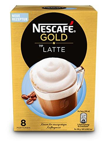 Nescafé Gold Typ Latte löslicher Bohnenkaffee (aus erlesenen Kaffeebohnen, koffeinhaltig, mit extra viel Schaum, Faltschachtel) 8er Pack (8 x 18g)