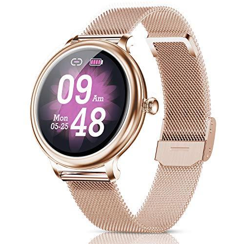 Reloj Inteligente Mujer,Smartwatch Hombres Impermeable IP68 Deportivo Fitness Monitores Actividad Pantalla Táctil Pulsómetros Sueño Contador Caloría Podómetro Presión Arterial para Android iOS