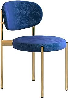 Amrai-Sillas de Comedor Juego de 4, sillas de Terciopelo Redondas Sillas de Cocina Cafe con Patas de Metal, sillas Decorativas para Sala de Estar Silla de Respaldo para Invitados, tamaño 50x50x85cm
