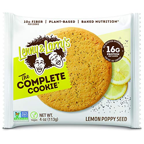 Lenny & Larry's The Complete Cookie, Lemon Poppy Seed, 4 Ounce Cookies - 12 Count, Soft Baked, Vegan and Non GMO Protein Cookies