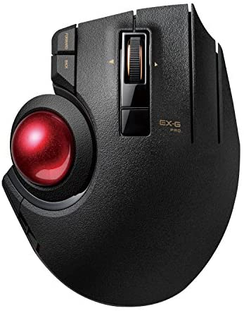 ELECOM Wired / Wireless / Bluetooth Thumb-Operated Trackball Mouse, 8-Button Function with Smooth Tracking, Precision Optical Gaming Sensor (M-XPT1MRXBK) , black