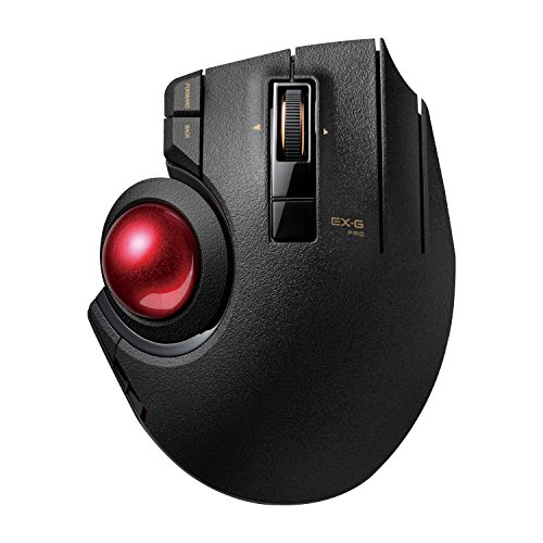 ELECOM M-XPT1MRXBK Trackball Mouse, Wired, Wireless, and Bluetooth, Gaming, High-Performance Ruby Ball, 8 Mappable Buttons, Smooth Scrolling, Extra Large, EX-G Pro, Black