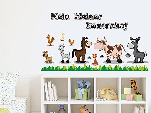 GRAZDesign Wandtattoo Baurnhof Kinderzimmer Tiere Kuh Pferd / 150x57cm