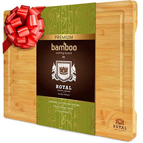 XXL Bamboo Cutting Board for Kitchen with Juice Groove - Wooden Chopping Board for Meat, Vegetables, Fruit and Cheese   Charcuterie Serving Tray, (XXL, 20 x 14