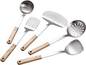 Cooking Utensils Set Utensil Set Wooden Handle Stainless Steel Kitchen Set Shovel Spoon Colander Set Kitchen Utensils Set ...