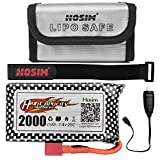 Hosim RC Cars Replacement Battery, 7.4V 2000mAh Li-Po Rechargeable Battery & 1Pack Lipo Battery Bag 9125 S920 S921 Truggy Trucks Accessory Supplies with Deans Plug for RC Boat High Speed SDL-103562