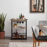 Tayene Bar Serving Cart Home Myra Rustic Mobile Kitchen Serving cart,Industrial Vintage Style Wood Metal Serving Trolley (Oak-A)