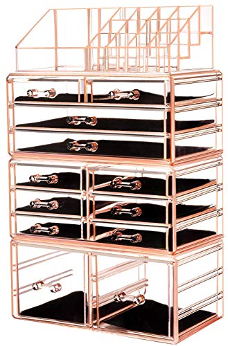 """HBlife Makeup Organizer Acrylic Cosmetic Storage Drawers and Jewelry Display Box with 12 Drawers, 9.5"""" x 5.4"""" x 15.8"""", 4 Piece, Pink"""
