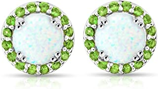 Sterling Silver Simulated White Opal & Simulated Gemstone Round Halo Stud Earrings