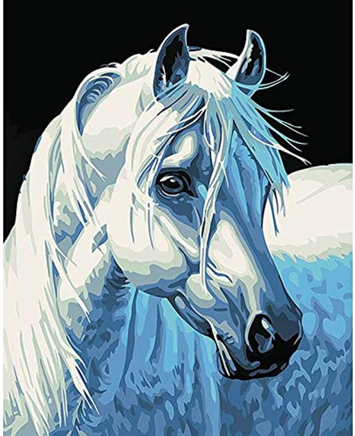 Tuwba Paint by Numbers Adult Kit White Horse Head Animal Beginner Acrylic On Canvas,Framed 40X50Cm