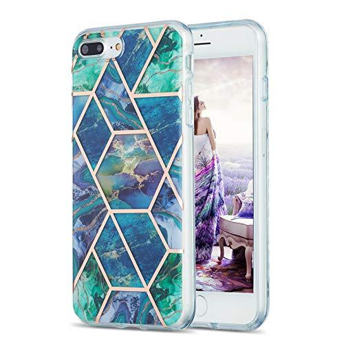 Fundas para iPhone 8 Plus / 7 Plus, diseño de mármol de TPU (azul-verde)
