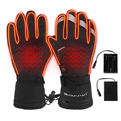 Sue-Supply Guantes calefactados, 5 niveles de temperatura, pantalla táctil actualizados a batería, calentados a prueba de agua guantes para moto esquí magníficos