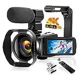 4K Video Camera Camcorder 48MP 60FPS Digital Camera Auto Focus Night Vision WiFi Vlogging Camera with Microphone, Lens Hood, Foldable Handheld Holder