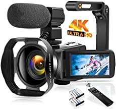 """4K Video Camera Camcorder 48.0MP Digital Camera IR Night Vision WiFi Vlogging Camera with External Microphone, Lens Hood, Foldable Handheld Holder, 3"""" Touch Screen"""