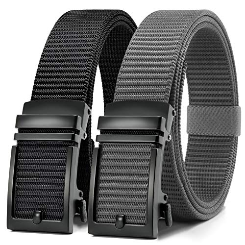 Chaoren Nylon Ratchet Belt 2 Pack, Mens Casual Belt for Golf Fully Adjustable Trim to Exact Fit