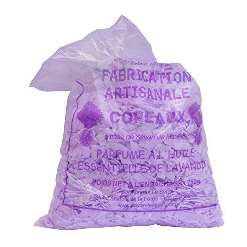 Copeaux de savon de Marseille parfumés lavande 750G - La lessive la plus économique ! Paillettes de savon pour votre lessive, lavage du linge délicat. Ecologique et naturel. Savonnerie artisanale.