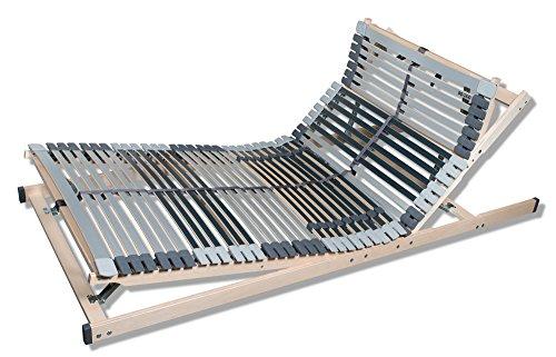 MediBalance 7 Zonen Lattenrost, 44 Federholzleisten, Mittelgurt, Verstellbarer Sitz- und Schlafkomfortrahmen 90x200 cm