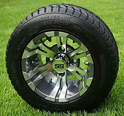 "10"" Vampire Gunmetal Wheels and 205/50-10 Golf Cart Tires- Set of 4"
