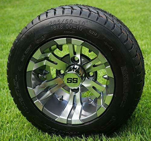 "10"" Vampire Gunmetal Wheels and 205/50-10 Golf Cart Tires- Set of 4"