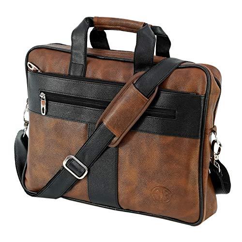 Storite PU Leather 14 inch Laptop Shoulder Messenger Sling Business Office Bag for Men & Women – (39cm x 30cm x 6 cm, BrownBlack)